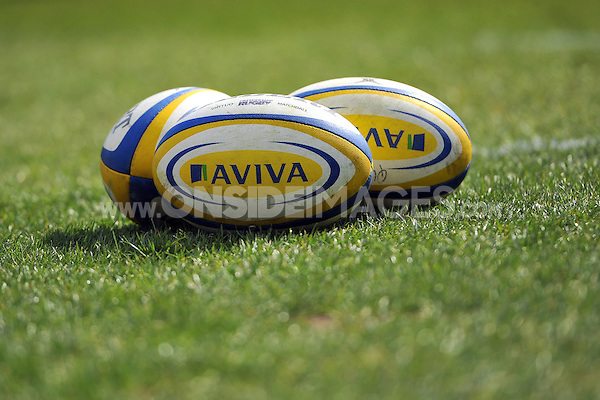 A general view of Aviva branded rugby balls. Aviva Premiership match, between Bath Rugby and London Welsh on March 30, 2013 at the Recreation Ground in Bath, England. Photo by: Patrick Khachfe / Onside Images