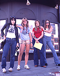Runaways 1977 Joan Jett, Sandy West, Vicky Blue, Lita Ford outside Whisky A Go Go in Hollywood. .© Chris Walter.