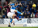 St Johnstone v Hearts&hellip;05.04.17     SPFL    McDiarmid Park<br />Steven MacLean and Alexandros Tziolis<br />Picture by Graeme Hart.<br />Copyright Perthshire Picture Agency<br />Tel: 01738 623350  Mobile: 07990 594431