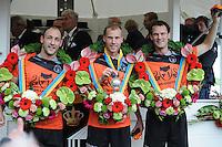 KAATSEN: FRANEKER: 29-07-2015, PC, Gert-Anne van der Bos (Koning), Taeke Triemstra en Daniël Iseger hebben woensdag finale van de 162ste PC in Franeker gewonnen van Jan Dirk de Groot, Renze Hiemstra en Hans Wassenaar 5-2 en 6-2, ©foto Martin de Jong