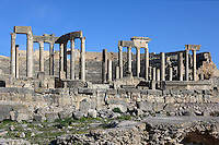 Low angle view of the Roman theatre, 2nd century, in Dougga, Tunisia, pictured on January 31, 2008, in the morning. Dougga has been occupied since the 2nd Millennium BC, well before the Phoenicians arrived in Tunisia. It was ruled by Carthage from the 4th century BC, then by Numidians, who called it Thugga and finally taken over by the Romans in the 2nd century. Situated in the north of Tunisia, the site became a UNESCO World Heritage Site in 1997. Picture by Manuel Cohen.