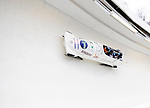 22 November 2009:  Edgars Maskalans, piloting the Latvia 2 bobsled, leads his 4-man team to a 12th place finish at the FIBT World Cup competition, in Lake Placid, New York, USA. Mandatory Credit: Ed Wolfstein Photo