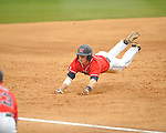 Ole Miss' Austin Anderson (8) triples vs. Houston at Oxford-University Stadium in Oxford, Miss. on Sunday, March 11, 2012. Ole Miss won 11-3 to sweep the three-game series.