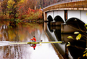 A lone sculler sculls in quiet solitude along Lake Carnegie in Princeton on Wednesday November 5, 2003.  photo by jane therese