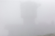 Appalachian Trail - The summit of Mount Washington during the summer months engulfed by fog. Located in the White Mountains, New Hampshire USA