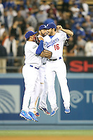 05/09/12 Los Angeles, CA: Los Angeles Dodgers left fielder Bobby Abreu #23, center fielder Matt Kemp #27 and right fielder Andre Ethier #16 during an MLB game played between the San Francisco Giants and Los Angeles Dodgers at Dodger Stadium