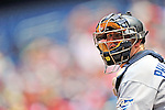 29 May 2011: San Diego Padres catcher Kyle Phillips in action against the Washington Nationals at Nationals Park in Washington, District of Columbia. The Padres defeated the Nationals 5-4 to take the rubber match of their 3-game series. Mandatory Credit: Ed Wolfstein Photo
