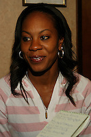 Sanya Richards at the Prefontaine Classic Press Conference on Saturday, June 7th. 2008. Photo by Errol Anderson, The Sporting Image.