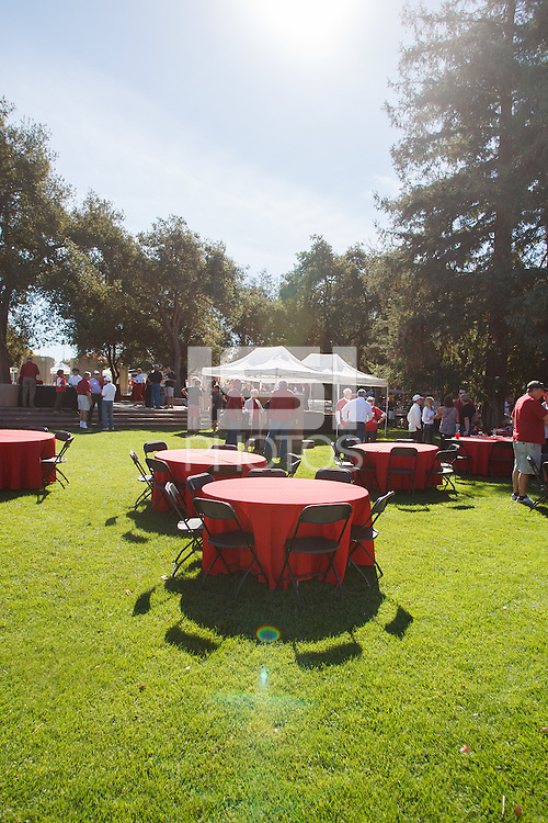 STANFORD -- October 27, 2012: Football alumni barbeque before the Stanford vs Washington State game Saturday afternoon at Stanford Stadium.<br /> <br /> Stanford won 24-17.