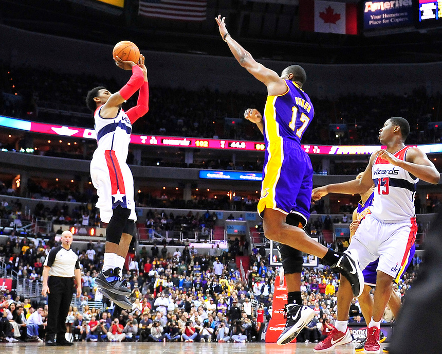 Nick Young of the Wizards converts a jump shot to late in the quarter. Washington defeated Los Angeles 106-101 at the Verizon Center in Washington, D.C. on Wednesday, March 7, 2012. Alan P. Santos/DC Sports Box