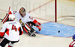 17 October 2009: Ottawa Senators goaltender Pascal Leclaire has one drift by the mouth of the goal wide in the second period against the Montreal Canadiens at the Bell Centre in Montreal, Quebec, Canada. The Senators defeated the Canadiens 3-1. Mandatory Credit: Ed Wolfstein Photo