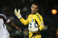 San Jose Earthquakes goalkeeper Jon Busch (18) looks for a call from the referee during the Colorado Rapids 2-1 victory over the San Jose Earthquakes at Buck Shaw Stadium in Santa Clara, California.