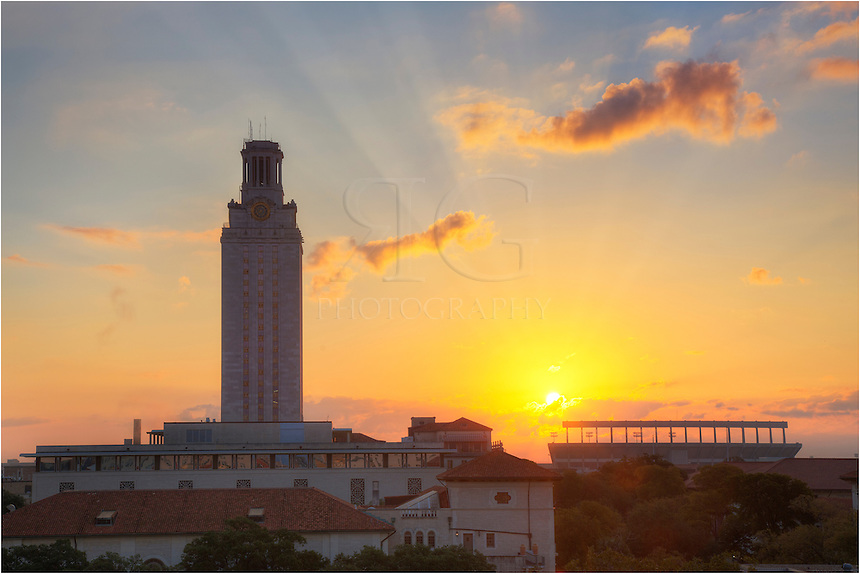 From west campus, this photograph of the University of Texas looks east at the iconic UT Tower and football stadium. To the east, the sun is just rising above some clouds on the horizon. This campus plays a big role in Austin life, and my time on the 40 acres were 5 or 6 of the best years of my life!