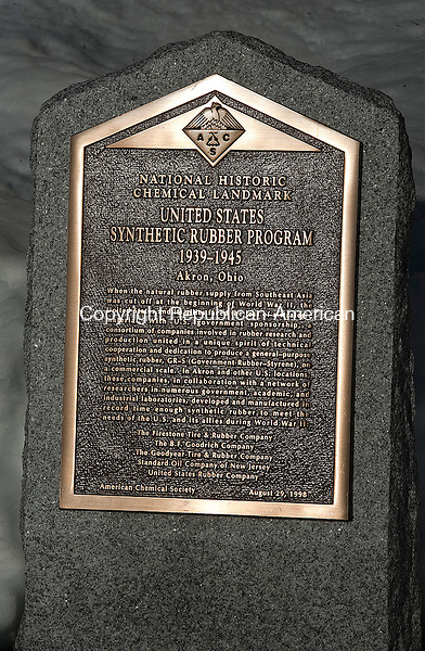 NAUGATUCK, CT 14 FEBRUARY 2013-021413JS01--A National Historic Chemical Landmark plaque sits outside the Chemtrua Corporation building at 400 Elm Street in Naugatuck. .Jim Shannon Republican-American