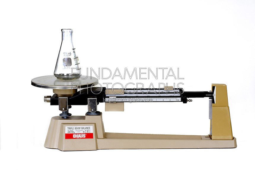 TRIPLE BEAM BALANCE<br /> (Variations Available)<br /> Lab Equipment For Measuring Weight Or Mass<br /> Weighing an Erlenmeyer flask