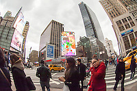 Newly installed led billboards at the corner of West 34th Street and Seventh Avenue in New York is seen on Tuesday, March 26, 2013. (© Frances M. Roberts)