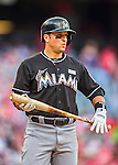 14 May 2016: Miami Marlins third baseman Martin Prado in action during the first game of a double-header against the Washington Nationals at Nationals Park in Washington, DC. The Nationals defeated the Marlins 6-4 in the afternoon matchup.  Mandatory Credit: Ed Wolfstein Photo *** RAW (NEF) Image File Available ***