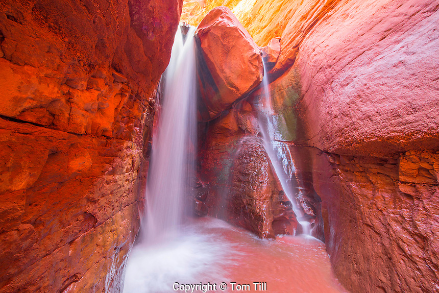 Waterfall in a slot canyon, Proposed La Sal Waters WIlderness, Near Moab, Utah