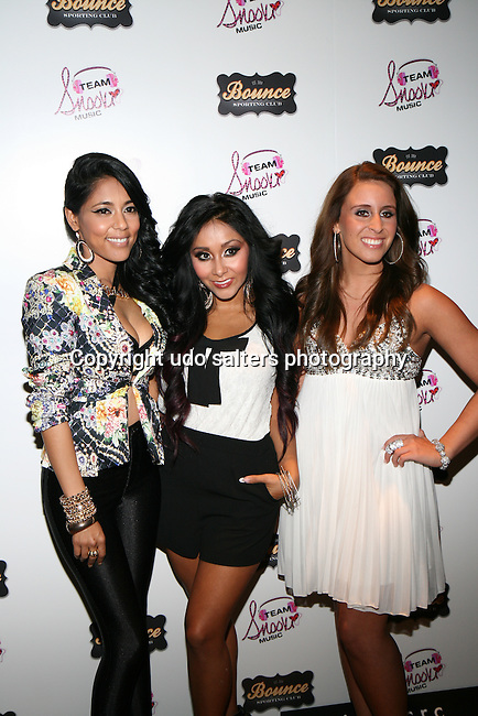 "Nicole ""Snooki"" Polizzi, AdELA and Veronica Kole Attend Nicole ""Snooki"" Polizzi Introduces The First Artists Signed To Team Snooki Music: AdELA. B-Capp and Veronica Kole-Held at Bounce Sporting Club, NY"