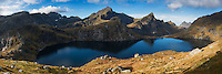 Panoramic view of Hermannsdalstine, Moskenesøy, Lofoten Islands, Norway