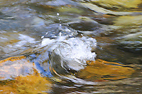 A small waves crests atop the Tobacco River in Montana. The fast moving water is all but a colorful blur looking like a painter's brushstrokes.