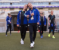Belo Horizonte, Brazil - August 2, 2016: The USWNT walks through the stadium in preparation for their opening group game at the 2016 Olympics at Mineirao Stadium.
