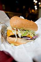 Splitz hamburger. En route to the 2010 Winter Olympics, Whistler, British Colombia, Canada.
