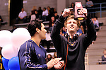 24 MAR 2012:  James Feigen of the University of Texas points to his trophy after winning 100 yard freestyle race during the Division I Men's Swimming and Diving Championship held at the Weyerhaeuser King County Aquatic Center in Seattle, WA.  Feigen won the event in a time of 41.95.  Rod Mar/ NCAA Photos