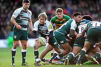 Matthew Tait of Leicester Tigers passes the ball. Aviva Premiership match, between Northampton Saints and Leicester Tigers on April 16, 2016 at Franklin's Gardens in Northampton, England. Photo by: Patrick Khachfe / JMP