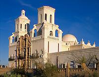 San Xavier Reservation, AZ  <br /> San Xavier del Bac Mission front facade