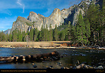 Cathedral Rocks, Bridalveil Fall and the Merced River in March, Gates of the Valley, Valley View, Yosemite National Park