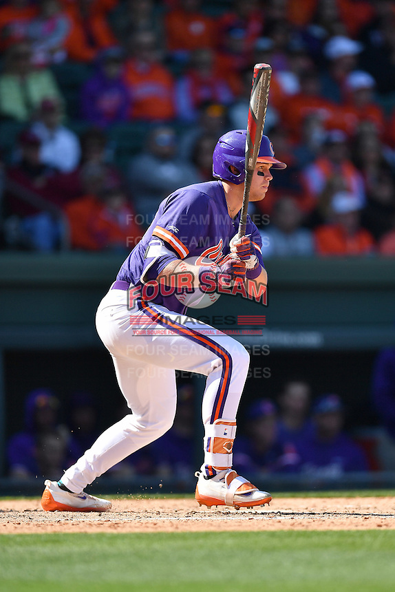 Left fielder Seth Beer (28) of the Clemson Tigers hits in the Reedy River Rivalry game against the South Carolina Gamecocks on Saturday, March 4, 2017, at Fluor Field at the West End in Greenville, South Carolina. Clemson won, 8-7. (Tom Priddy/Four Seam Images)