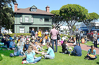 Farmers Market patrons picnic on the California Heritage Museum lawn on Sunday, April, 15, 2012.