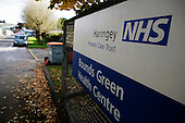 Main hospital sign at The NHS Bounds Green Health Centre, London, England. Royalty Free