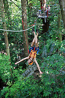QZ1420-D. woman (model released) slides down &quot;flying fox zip line&quot; on a Jungle Surfing tour in the rainforest canopy on Cape Tribulation north of Cairns. Queensland. Australia.<br /> Photo Copyright &copy; Brandon Cole. All rights reserved worldwide.  www.brandoncole.com