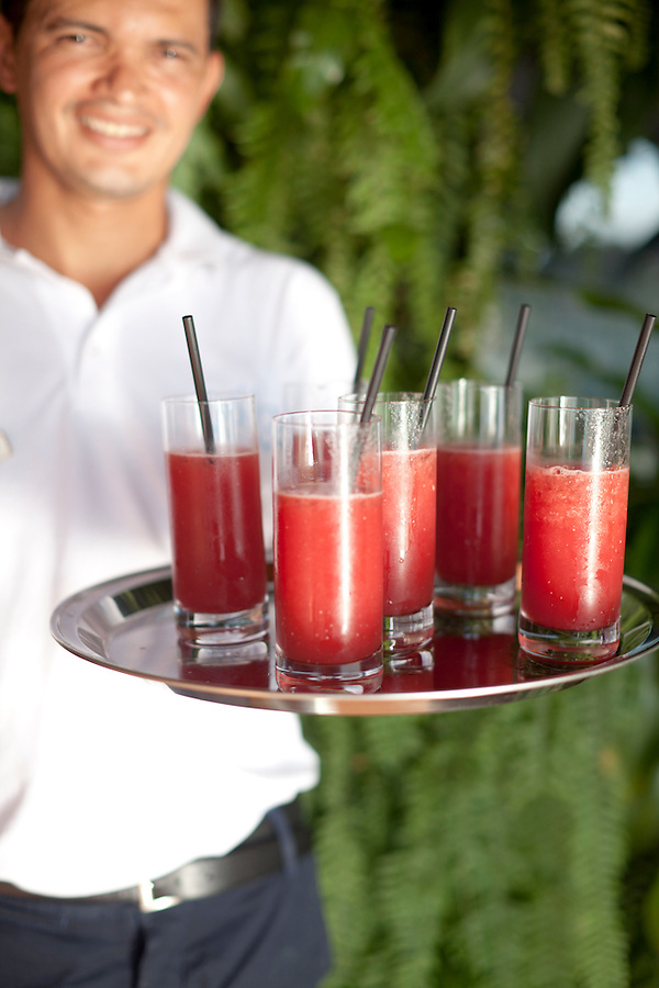 Fresh watermelon juice, from the poolside bar at Insolito Boutique Hotel.