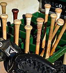 2 July 2011: A bin of Vermont Lake Monsters Baseball Bats are ready in the dugout prior to a game against the Tri-City ValleyCats at Centennial Field in Burlington, Vermont. The Lake Monsters rallied from a 4-2 deficit to defeat the ValletCats 7-4 in NY Penn League action. Mandatory Credit: Ed Wolfstein Photo