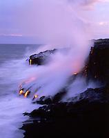 Lava flow to the sea from Kilauea Volcano, Big Island of Hawaii