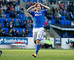 St Johnstone v Partick Thistle...28.09.13      SPFL<br /> Stevie May holds his head after his shot was pushed wide by Paul Gallacher<br /> Picture by Graeme Hart.<br /> Copyright Perthshire Picture Agency<br /> Tel: 01738 623350  Mobile: 07990 594431