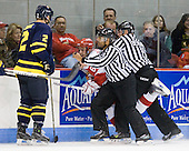Fraser Allen (Merrimack - 2), Joe Pereira (BU - 6), Glenn Cooke, Bob Bernard - The visiting Merrimack College Warriors tied the Boston University Terriers 1-1 on Friday, November 12, 2010, at Agganis Arena in Boston, Massachusetts.