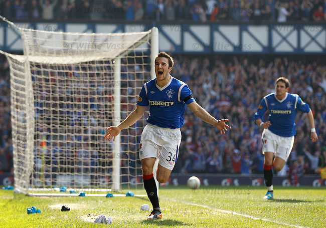 Andy Little celebrates his goal for Rangers with his first touch of the ball after coming on as a second half substitute