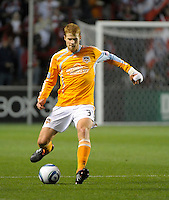Houston defender Andrew Hainault (31) makes a pass.  The Chicago Fire defeated the Houston Dynamo 2-0 at Toyota Park in Bridgeview, IL on April 24, 2010.
