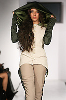 "Model walks runway in an outfit from the Berchell Egerton Fall Winter 2012 ""Chival Die Damsel"" collection, by Berchell Egerton, during BK Fashion Weekend Fall Winter 2012."