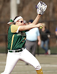 Waterbury, CT- 20 April 2017-042017CM05- Holy Cross' Sarah Lawton delivers a pitch during their softball matchup against Sacred Heart on Thursday.  Holy Cross would go onto win, 7-0.   Christopher Massa Republican-American