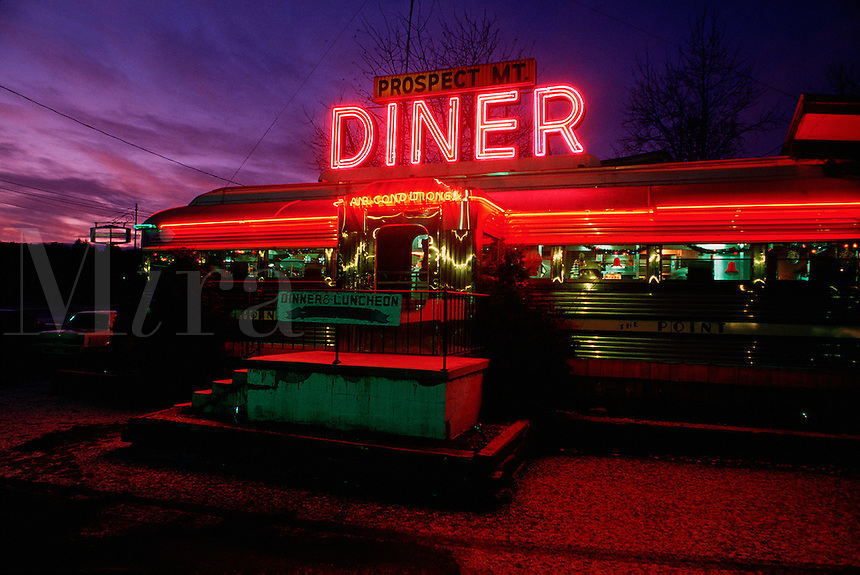 Diner in Lake George, New York, at night