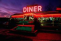 Diner in Lake George, New York, at night