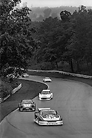 The Datsun 280ZX Turbo driven by Sam Posey and Paul Newman leads a group of cars during a Camel GT IMSA race at Road America near Elkhart Lake, Wisconsin, on August 31, 1980. (Photo by Bob Harmeyer)