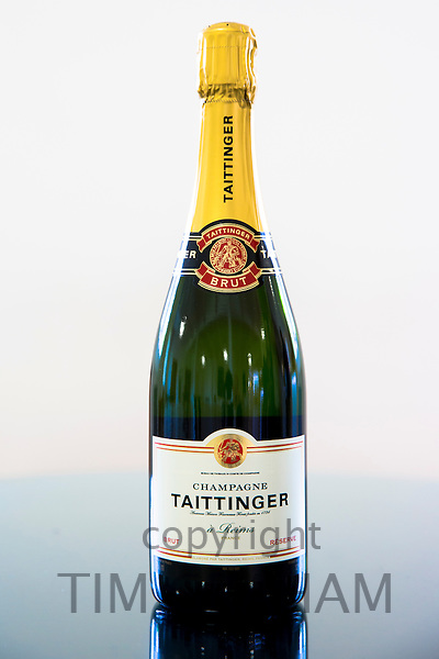Champagne Taittinger Brut on display at Taittinger in Place Saint Nicaise in Reims, Champagne-Ardenne, France