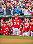 19 September 2015: Washington Nationals outfielder Bryce Harper returns to the dugout after hitting his 41st home run of the season during a game against the Miami Marlins at Nationals Park in Washington, DC. The Nationals defeated the Marlins 5-2 in the third game of their 4-game series. Mandatory Credit: Ed Wolfstein Photo *** RAW (NEF) Image File Available ***