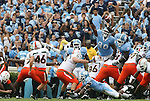 06 October 2007: Miami's Francesco Zampogna (46) misses a field goal. The University of North Carolina Tar Heels defeated the University of Miami Hurricanes 33-27 at Kenan Stadium in Chapel Hill, North Carolina in an Atlantic Coast Conference NCAA College Football Division I game.